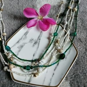 NWOT-3 Necklaces- 2 White Bead/1 Dark Green Bundle